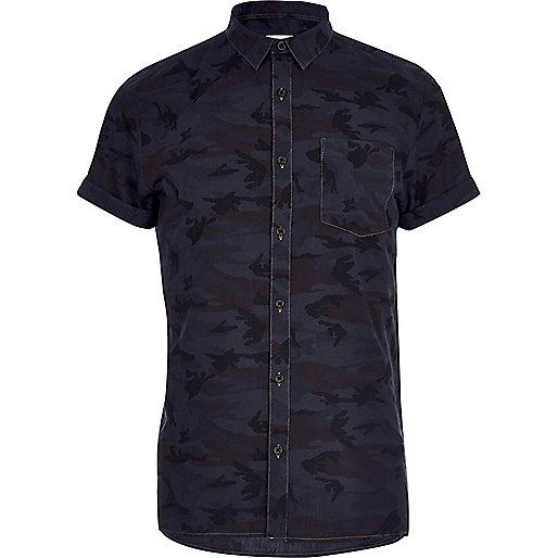 Navy camo print shirt