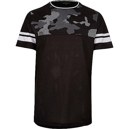 T-shirt en tulle noir à empiècement camouflage