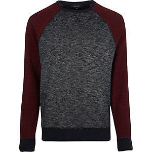 Marineblauw sweatshirt met contrasterende raglanmouwen