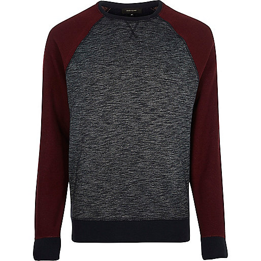 Navy contrast raglan sleeve sweatshirt