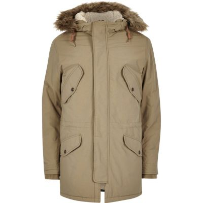 Jack and Jones Vintage Kiezelkleurige parka met capuchon