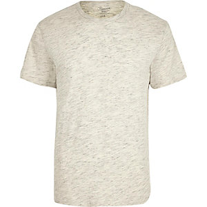 Jack & Jones – T-Shirt in Ecru mit Rundhalsausschnitt