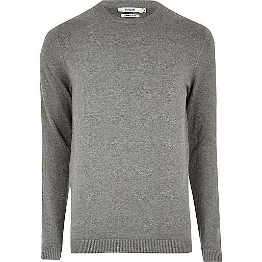Grey marl knit Jack & Jones crew neck jumper