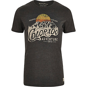 Jack & Jones khaki Colorado print T-shirt