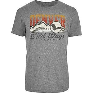 Jack & Jones grey Denver print washed T-shirt