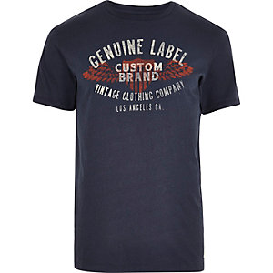 Navy blue vintage look T-shirt