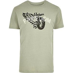 Light green motorcycle print T-shirt