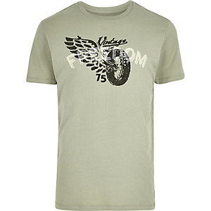 Light green motorcycle print T-shirt