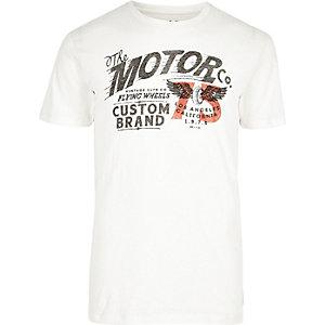 White motorcycle print T-shirt