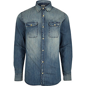 Blue wash faded denim shirt