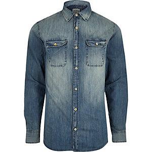 Blue wash faded denim shirt