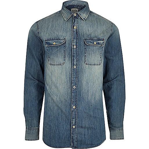 Blue wash Jack & Jones faded denim shirt