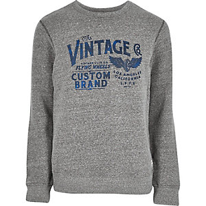 Grey vintage print sweatshirt