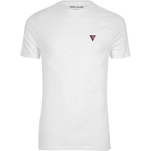 White logo muscle fit T-shirt