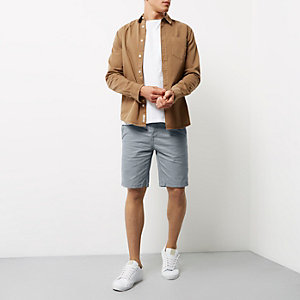 Grey slim fit chino shorts