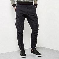 Pantalon de jogging fuselé noir style cargo