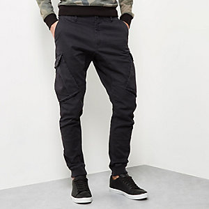 Black cargo tapered joggers