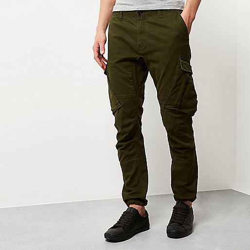 Green slim fit cargo trousers