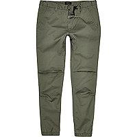 Pantalon de jogging fuselé vert en coton