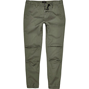 Green tapered cotton joggers