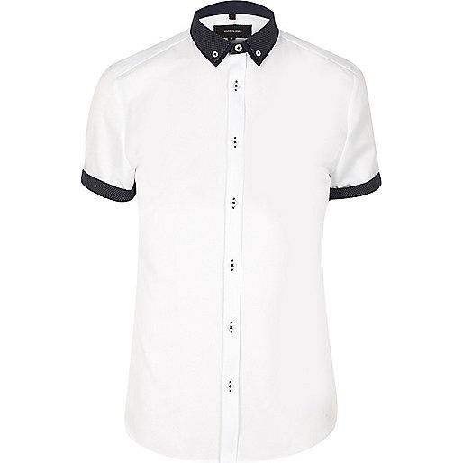 White smart contrast collar slim fit shirt