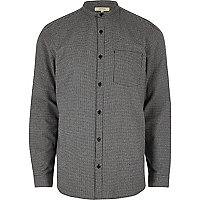 Grey casual pupstooth grandad flannel shirt