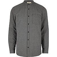 Chemise casual en flanelle motif pied-de-poule grise style grand-père