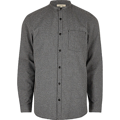 Grey casual pupstooth grandad flannel shirt