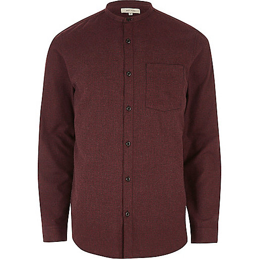 Red grandad casual check flannel shirt