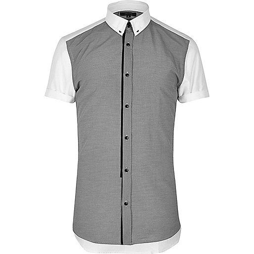 Grey contrast collar smart slim fit shirt