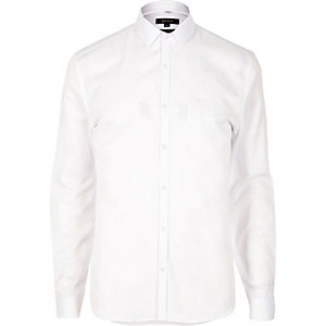 White smart textured slim fit shirt