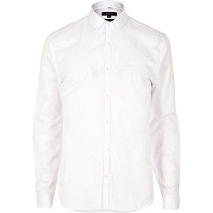 Chemise blanche texturée habillée cintrée