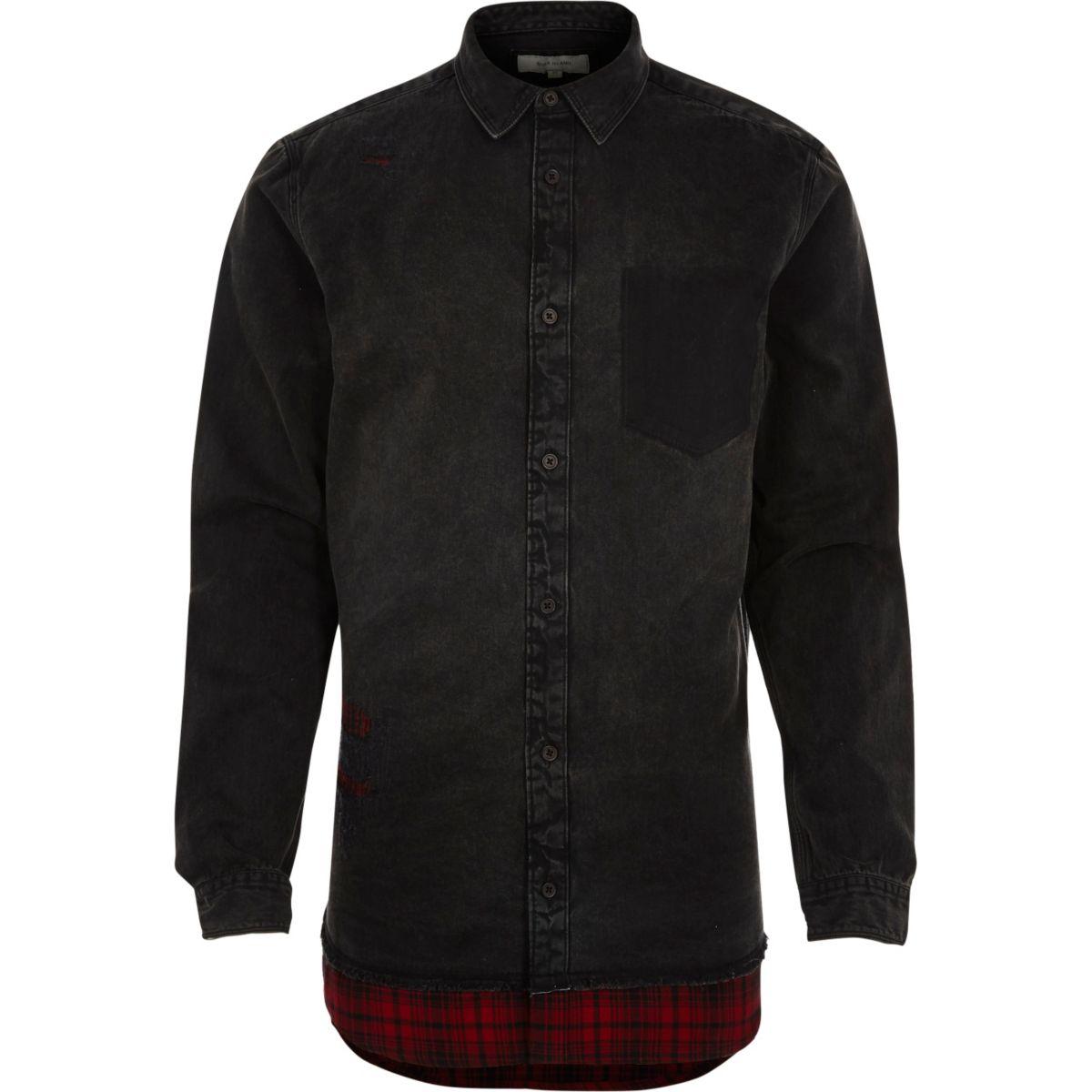 Black denim ripped shirt with check hem