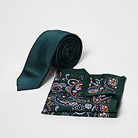Green paisley print tie and pocket square