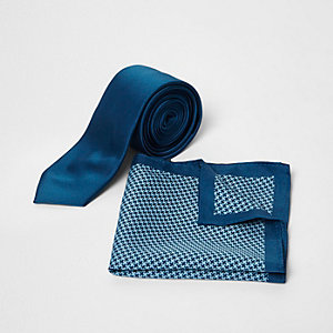 Pochette et cravate imprimé pied-de-poule bleu