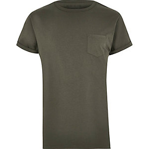 Khaki green patch pocket T-shirt