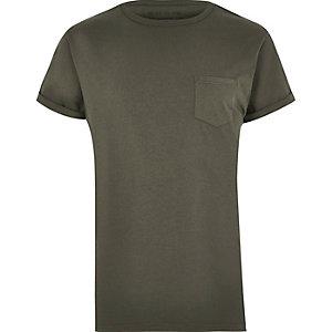 T-shirt vert kaki à poche rapportée