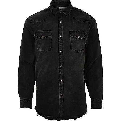 Black ripped denim shirt