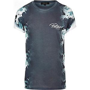 Navy camo side print T-shirt