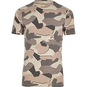 Stone jigsaw camo muscle fit T-shirt