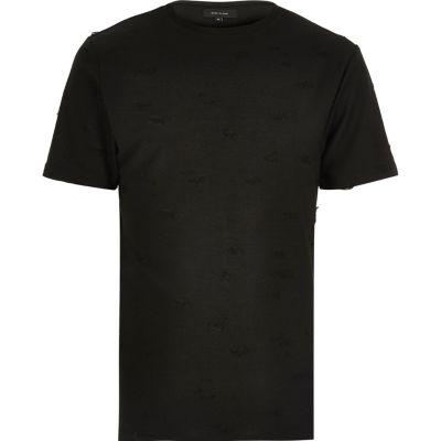 Zwart distressed T-shirt met ronde hals