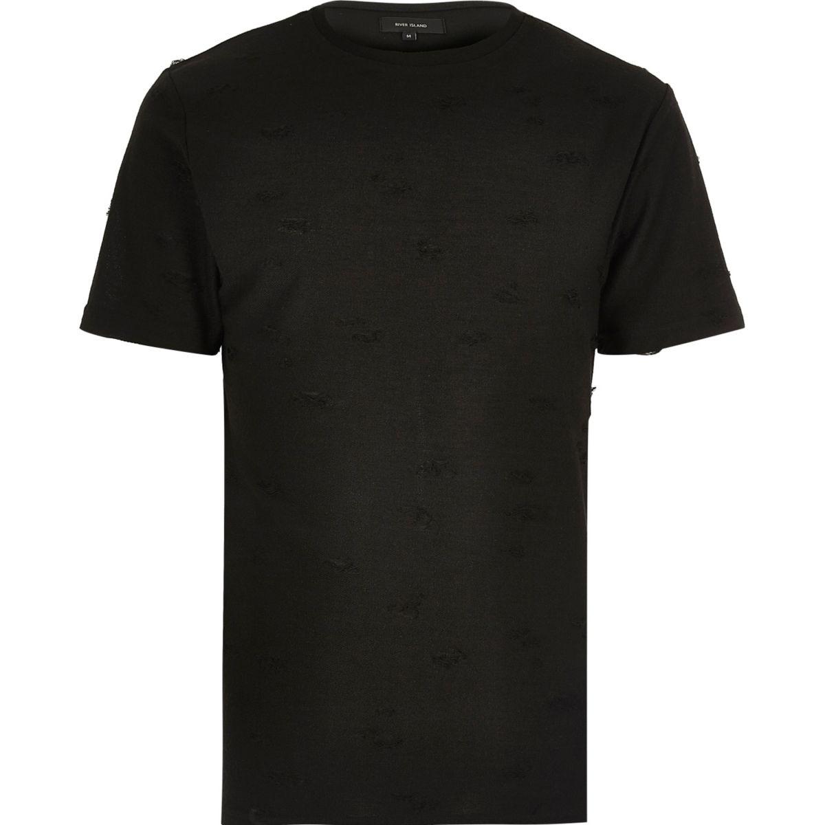 T-shirt ras du cou noir aspect usé