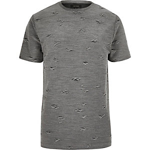 T-shirt gris aspect usé à col ras du cou