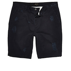 Navy ripped skater shorts