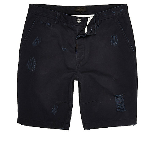 Marineblaue, gerippte Skater-Shorts