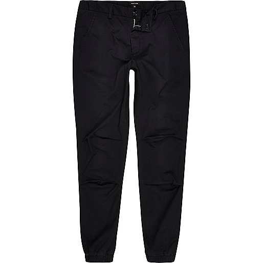 Black tapered cotton joggers