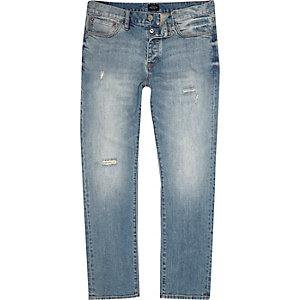 Blue wash Dylan slim fit ripped jeans