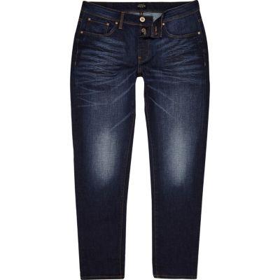 Jimmy Donkerblauwe smaltoelopende slim-fit jeans