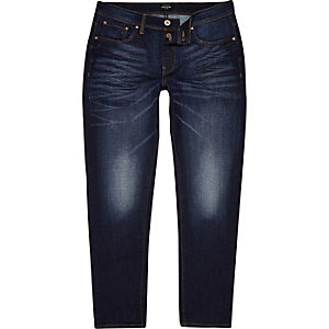 Jimmy - Donkerblauwe smaltoelopende slim-fit jeans