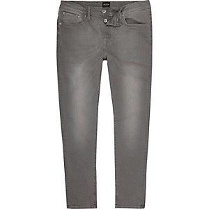 Jimmy lichtgrijze slim-fit smaltoelopende jeans